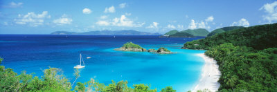 Ocean, Beach, Water, Trunk Bay, St. John, Virgin Islands, West Indies Photographic Print