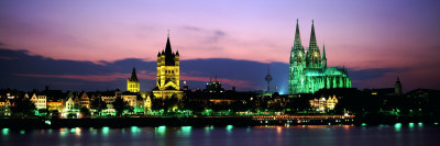 Cityscape at Dusk, Cologne, Germany Photographic Print by  Panoramic Images