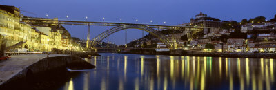 Night, Luis I Bridge, Porto, Portugal Photographic Print by  Panoramic Images