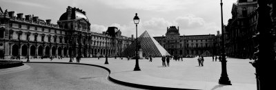 Black and White, Exterior, the Louvre, Paris, France Photographic Print by  Panoramic Images
