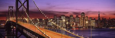 Bay Bridge Illuminated at Night, San Francisco, California, USA Photographic Print by  Panoramic Images