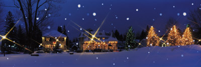 Holiday Lights, Laurentide, Quebec, Canada Photographic Print by  Panoramic Images