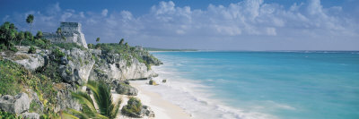 El Castillo, Quintana Roo Caribbean Sea, Tulum, Mexico Photographic Print by  Panoramic Images