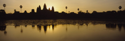 Silhouette of a Temple at Sunrise, Angkor Wat, Cambodia Photographic Print by  Panoramic Images