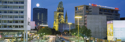 Buildings Lit Up at Night, Berlin, Germany Photographic Print by  Panoramic Images