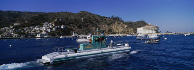 Boats in the Ocean, Santa Catalina Island, California, USA Photographic Print by  Panoramic Images