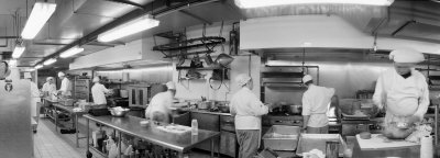 Black and White, Chefs in Kitchen Photographic Print by  Panoramic Images