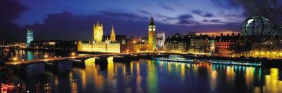 Night, London, England, United Kingdom Fotoprint av Panoramic Images,