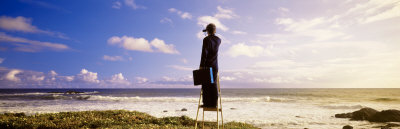 Businessman Standing on a Ladder and Looking Through Binoculars, California, USA Photographic Print by  Panoramic Images
