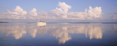 Boat Floating in Sea, Florida Keys, Florida, USA Photographic Print by  Panoramic Images