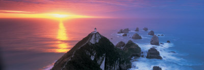 Sunset, Nugget Point Lighthouse, South Island, New Zealand Photographic Print by  Panoramic Images