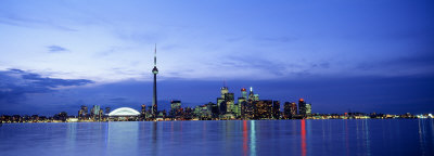 Skyline at Dusk, Toronto, Ontario, Canada Photographic Print by  Panoramic Images