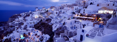 View of Villas and Housing in Santorini, Greece at Dusk