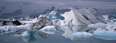 Glacier Floating on Water, Vatnajokull Glacier, Iceland Photographic Print by  Panoramic Images