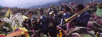 Musicians Celebrating All Saint's Day by Playing Trumpet, Zunil, Guatemala Photographic Print by  Panoramic Images