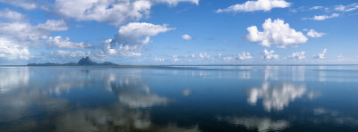 Reflection of Clouds on Water, Bora Bora, French Polynesia Photographic Print by  Panoramic Images