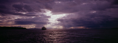 Ferry in the Sea, Elliott Bay, Puget Sound, Washington State, USA Photographic Print by  Panoramic Images