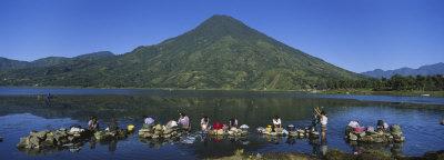 Women Washing Clothes in a Lake, Santiago, Lake Atitlan, Guatemala Photographic Print by  Panoramic Images