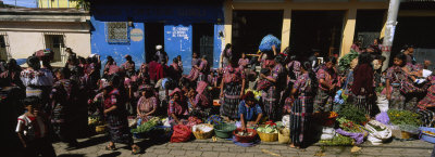 Group of People in a Vegetable Market, Solola, Guatemala Photographic Print by  Panoramic Images