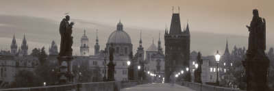 Lit Up Bridge at Dusk, Charles Bridge, Prague, Czech Republic Photographic Print by  Panoramic Images