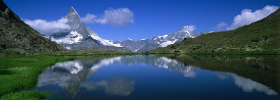 Reflection of Mountains in Water, Riffelsee, Matterhorn, Switzerland Photographic Print by  Panoramic Images