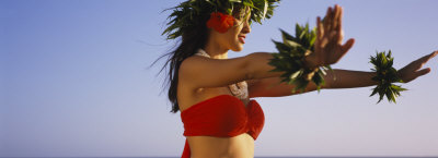 Side Profile of a Young Woman Hula Dancing, Hawaii, USA Photographic Print by  Panoramic Images