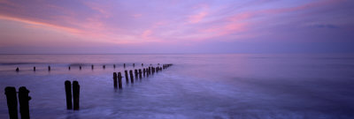 Wooden Posts in Water, Sandsend, Yorkshire, England, United Kingdom Photographic Print by  Panoramic Images