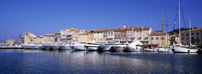 Boats Moored at a Harbor, St. Tropez, Provence, France Photographic Print by  Panoramic Images