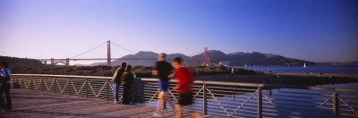 Five People Jogging on a Bridge, Golden Gate Bridge, San Francisco, California, USA Photographic Print by  Panoramic Images