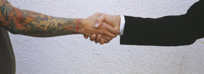 Close-up of Two Men Shaking Hands, Germany Photographic Print by  Panoramic Images