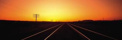 Sunset, Railroad Tracks, Daggett, California, USA Photographic Print by  Panoramic Images