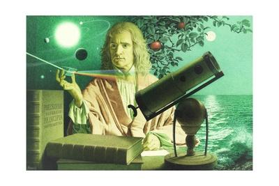 A Portrait of Sir Issac Newton by Jean-Leon Huens Giclee Print by Jean-Leon Huens