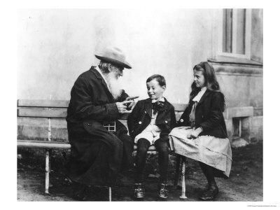 Portrait of Lev Nikolaevich Tolstoy with His Grandchildren Premium Giclee Print