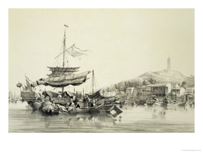 "Hong Shang, Plate 17 from ""Sketches of China"", 1842 Giclee Print by Auguste Borget"