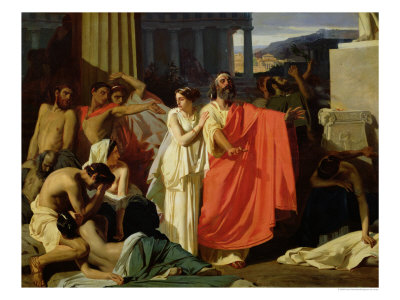 Oedipus and Antigone Being Exiled to Thebes, 1843 Premium Giclee Print by Ernest Hillemacher