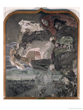 The Flight of Faust and Mephistopheles, 1896 Giclée-Druck von Mikhail Aleksandrovich Vrubel