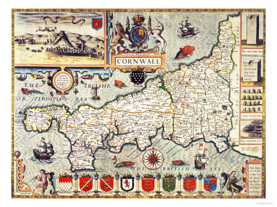 Hand-Coloured Map of Cornwall from the 1627 Edition of