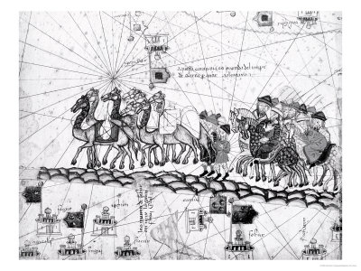 Panel 4 Caravans Crossing the Urals on the Way to Cathay, from the Catalan Atlas of Charles V Giclee Print by Abraham Cresques