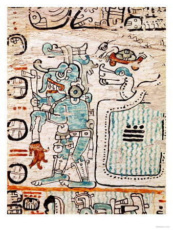 Detail from a Mayan Codex Premium Giclee Print