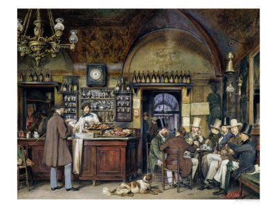 The Greek Cafe in Rome, 1856 Giclee Print by Ludwig Passini