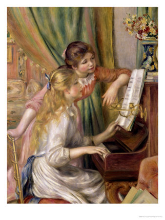 Young Girls at the Piano, 1892 Premium Giclee Print by Pierre-Auguste Renoir