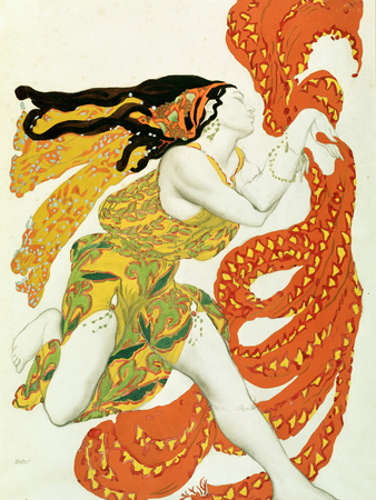 "Costume Design for a Bacchante in ""Narcisse"" by Tcherepnin, 1911 Premium Giclee Print by Leon Bakst"