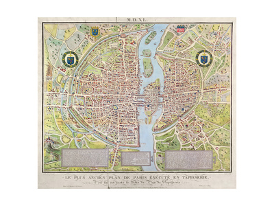 Plan de La Tapisserie, Map of Paris, Originally a Tapestry Made in circa 1570, 1818 Giclee Print by Caroline Naudet!