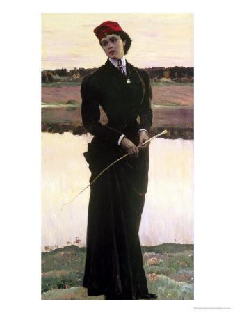 Portrait of Olga Nesterova Or, Woman in a Riding Habit, 1906 Giclee Print by Mikhail Vasilievich Nesterov