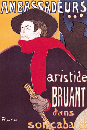 Poster Advertising Aristide Bruant in His Cabaret at the Ambassadeurs, 1892 Premium Giclee Print by Henri de Toulouse-Lautrec