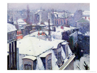 View of Roofs or Roofs Under Snow, 1878 Premium Giclee Print by Gustave Caillebotte