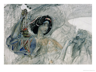 """The Six Winged Seraph, from """"The Prophet"""", by Alexander Pushkin, 1905 Giclée-Druck von Mikhail Aleksandrovich Vrubel"""