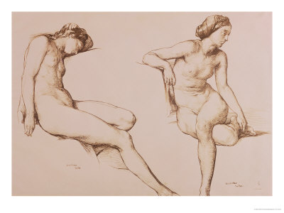 Sepia Drawing of Nude Woman, circa 1860 Giclee Print by William Mulready