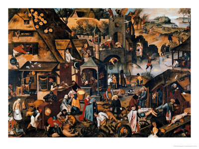 Flemish Proverbs Premium Giclee Print by Pieter Brueghel the Younger