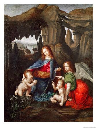 Madonna of the Rocks Premium Giclee Print by  Leonardo da Vinci